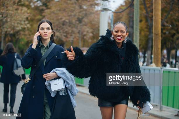 Models Lily Stewart Adesuwa Aighewi after the Chanel show during Paris Fashion Week Spring/Summer 2019 on October 2 2018 in Paris France Lily talks...