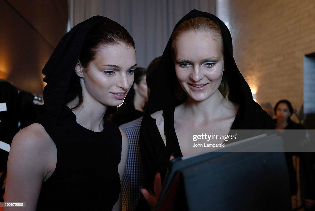 Models Limmea Ahlamm (L) and Baan Broze backstage at the Katie Gallagher Presentation during Fall 2013 Mercedes-Benz Fashion Week at The Standard Hotel on February 8, 2013 in New York City.
