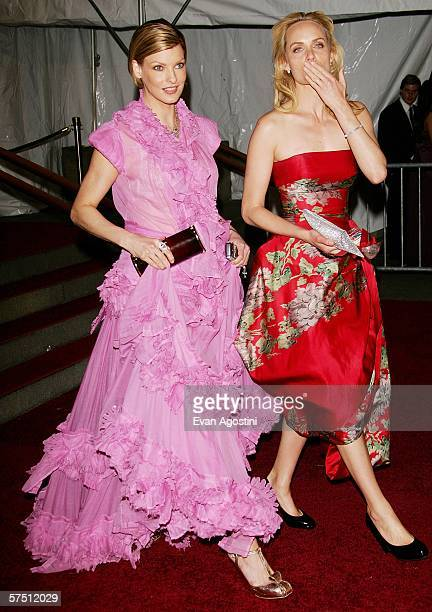 Models Linda Evangelista and Amber Valletta leave the Metropolitan Museum of Art Costume Institute Benefit Gala AngloMania Tradition and...