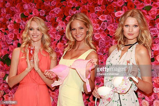 Models Lindsay Ellingson Erin Heatherton and Toni Garrn attend the Victoria's Secret Love Is Heavenly Fragrance Launch at Victoria Secret Soho on...