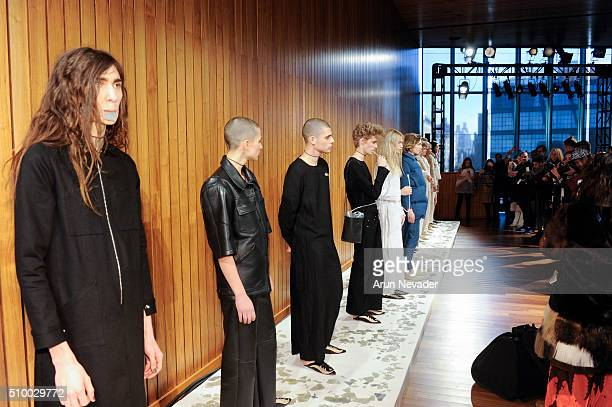 Models line up at the Collina Strada Presentation at The Standard on February 13 2016 in New York City