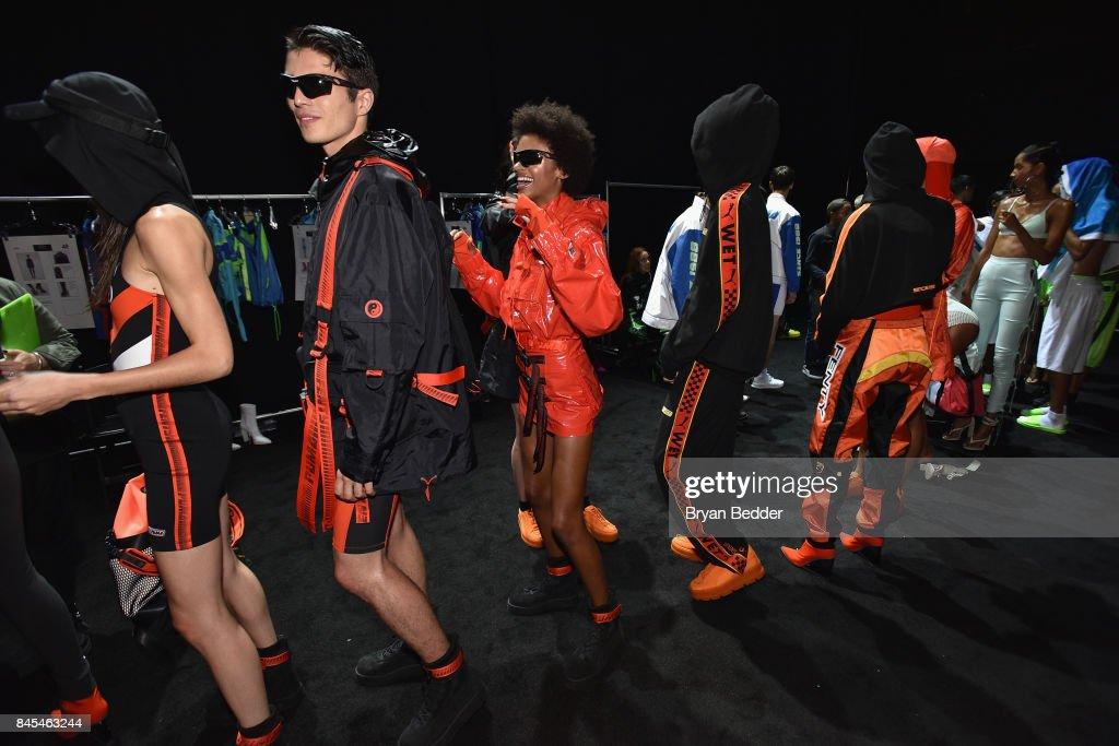 sale retailer 8167d 879a9 Models line up backstage at the FENTY PUMA by Rihanna Spring ...