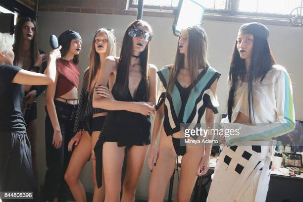 Models line up backstage at the Linder fashion show during New York Fashion Week on September 8 2017 in New York City
