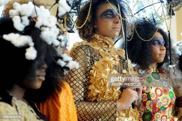 Models line up for a portrait during the 3018 fashion show at the 12th Annual Black New England Conference at the University of New Hampshire on...
