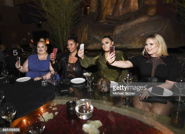 Models Lisa Schoenberger, Tabria Majors, Gabriella Lascano, and Sophie Turner wearing Xehar take selfie at the Xehar #AConfidentYou Fashion Week VIP...