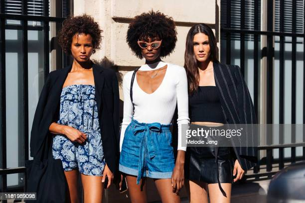 Models Litza Veloz, Hilary Cerezo, and Natalie Kuckenburg after the Zuhair Murad show during Couture Fashion Week Fall/Winter 2019 on July 03, 2019...