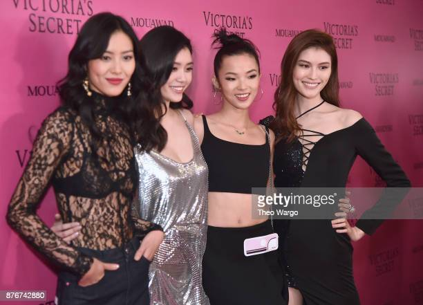 Models Liu Wen Ming Xi Xiao Wen and Sui He attend the 2017 Victoria's Secret Fashion Show In Shanghai After Party at MercedesBenz Arena on November...