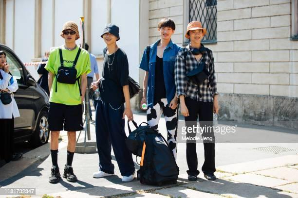 Models Liu Zhicheng, Tsubasa, Hang Yu, and Akito Mizutani after the Fendi show during the Milan Men's Fashion Week Spring/Summer 2020 on June 17,...