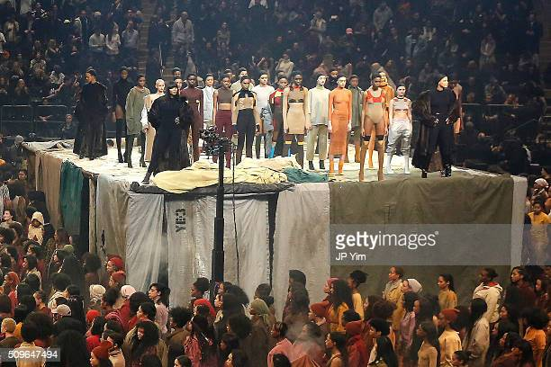Models Liya Kebede Naomi Campbell and Veronica Webb appear onstage during Kanye West Yeezy Season 3 on February 11 2016 in New York City