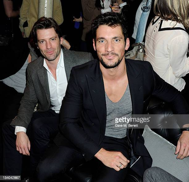Models Louis Dowler and David Gandy attend the launch of the Vertu Constellation the luxury mobile phone maker's first touchscreen handset at the...