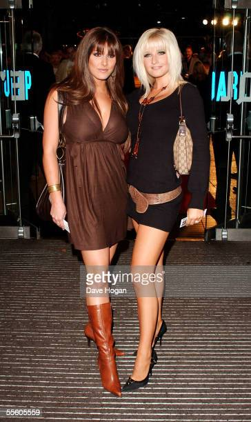 Models Lucy Pinder and Michelle Marsh arrive at the world premiere of Goal at the Odeon Leicester Square on September 15 2005 in London England