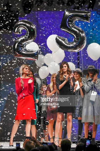 Models Luisa Hartema and Alisar Ailabouni walk the runway at the Gerry Weber Open Fashion Night 2017 during the Gerry Weber Open 2017 at Gerry Weber...
