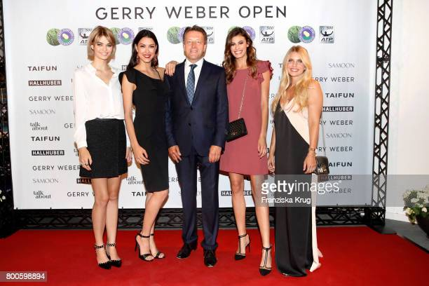 Models Luisa Hartema Rebecca Mir CEO Ralf Weber model Alisar Ailabouni and blogger Carolin Faerber attend the Gerry Weber Fashion Night 2017 during...