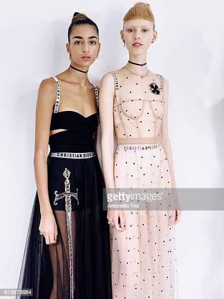 Models Lululeika Ravn Liep poses prior the Christian Dior show as part of the Paris Fashion Week Womenswear Spring/Summer 2017 on September 30 2016...