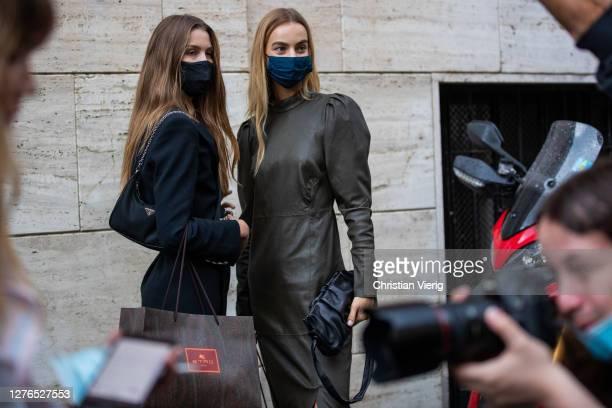 Models Luna Bijl and Maartje Verhoef seen outside Etro during the Milan Women's Fashion Week on September 24, 2020 in Milan, Italy.