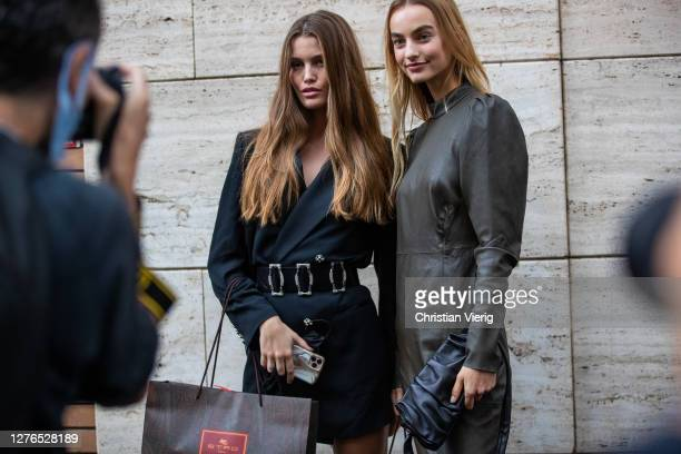 Models Luna Bijl and Maartje Verhoef seen outside Etro during the Milan Women's Fashion Week on September 24, 2020 in Milan, Italy.