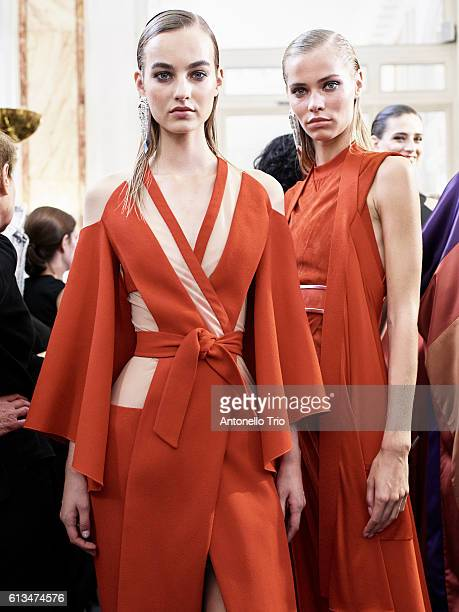 Models Maartje Verhoef and Kirstin Kragh Liljegren poses prior the Balmain show as part of the Paris Fashion Week Womenswear Spring/Summer 2017 on...