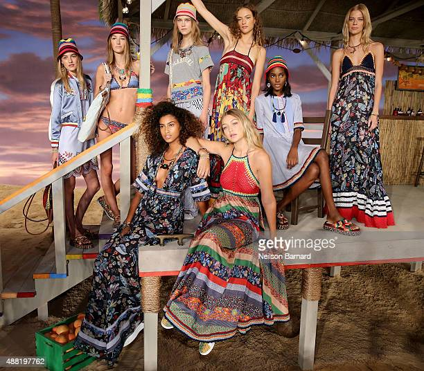 Models Maartje Verhoef Josephine Le Tutour Julie Hoomans Sophia Ahrens Tami Williams and Lexi Boling Imaan Hammam and Gigi Hadid pose at Tommy...