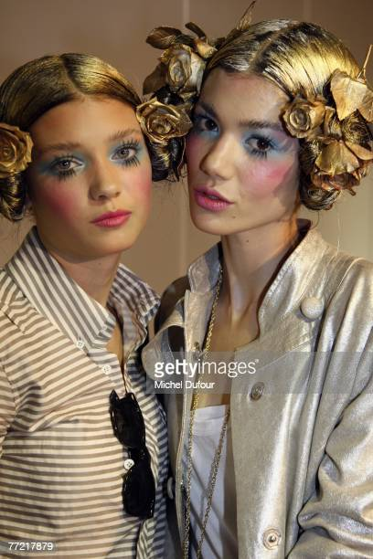 Models make up in backstage the John Galliano fashion show, during the Spring/Summer 2008 ready-to-wear collection show at Stade Francais on October...