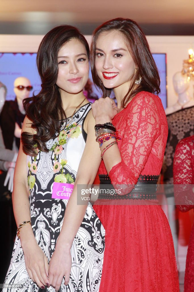 Models Mandy Lieu (R) and Janice Man attend Juicy Couture promotional event on September 12, 2013 in Hong Kong, Hong Kong.