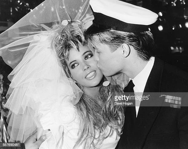 Models Mandy Smith and David Cuerden dressed as bride and groom for a fashion show at Stringfellows night club London October 2nd 1986