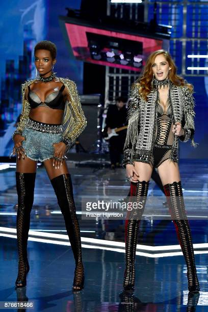 Models Maria Borges and Alexina Graham walk the runway during the 2017 Victoria's Secret Fashion Show In Shanghai at MercedesBenz Arena on November...
