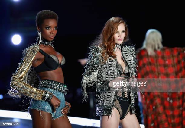 Models Maria Borges and Alexina Graham walk the runway for Swarovski Sparkles In the 2017 Victoria's Secret Fashion Show at MercedesBenz Arena on...