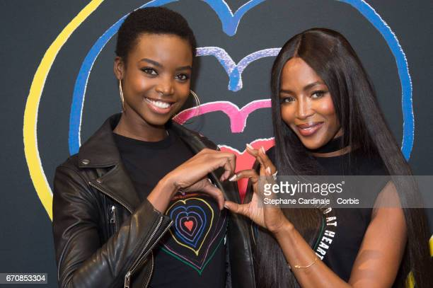 Models Maria Borges and Naomi Campbell attend Fashion For Relief 'Child At Heart' cocktail party on April 20 2017 in Paris France The 'Child At...