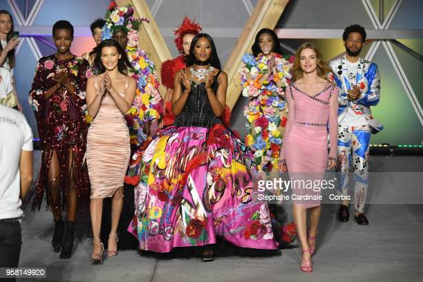 Models Maria Borges Bella Hadid Naomi Campbell and Natalia Vodianova walk the runway at Fashion For Relief Cannes 2018 during the 71st annual Cannes...