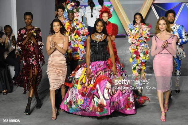 Models Maria Borges Bella Hadid Naomi Campbell Winnie Harlow and Natalia Vodianova walk the runway at Fashion For Relief Cannes 2018 during the 71st...