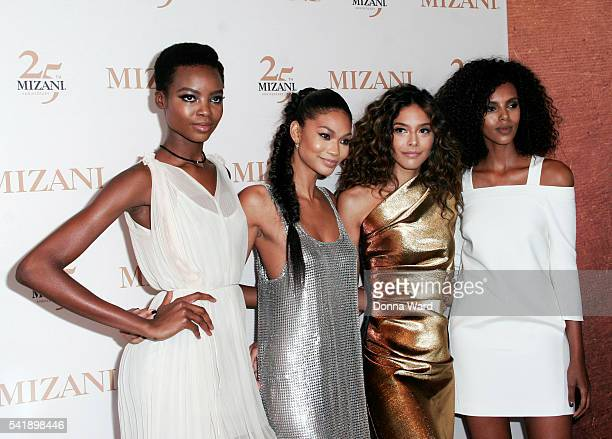 Models Maria Borges, Chanel Iman, Heidy de la Rosa and Grace Mahary attend the Mizani 25th Anniversary celebration and new styling collection at The...