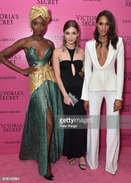 Models Maria Borges Grace Elizabeth and Cindy Bruna attend the 2017 Victoria's Secret Fashion Show In Shanghai After Party at MercedesBenz Arena on...