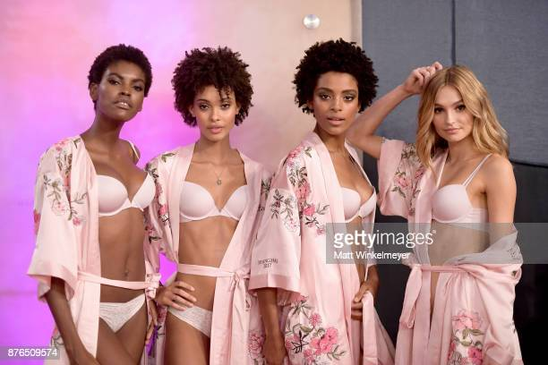 Models Maria Borges Samile Bermannelli Alecia Morais and Frida Aasen pose in Hair Makeup during 2017 Victoria's Secret Fashion Show In Shanghai at...