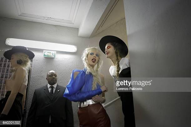 Models Marjan Jonkman and Valery Kaufman pose Backstage prior the Jean Paul Gaultier Fashion Week on January 25, 2017 in Paris, France.