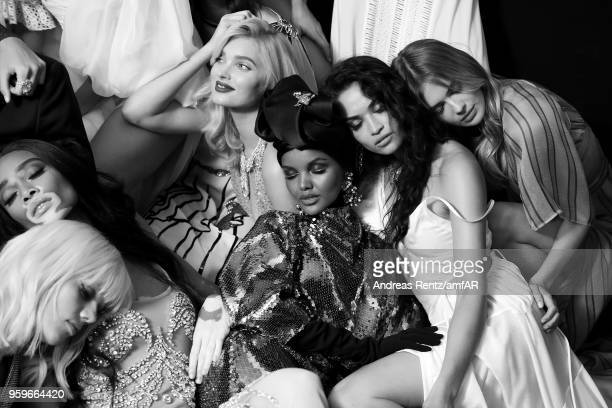 Models Marjan Jonkman Winnie Harlow Elsa Hosk Halima Aden Shanina Shaik pose backstage at the amfAR Gala Cannes 2018 at Hotel du CapEdenRoc on May 17...