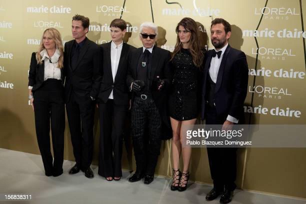 Models Mark Vanderloo Saskia de Brauw Designer Karl Lagerfeld and model Isabeli Fontana attend Marie Claire Prix de la Moda Awards 2012 at French...