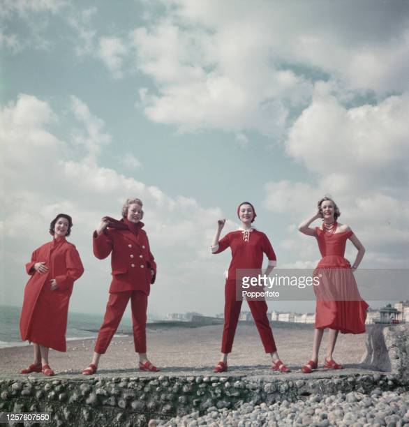 Models, Marlene Day in a Parisian Poplin raincoat, Patti Morgan in sailcloth dungarees and wool jacket, Isabella Babianska in a cotton middy top and...