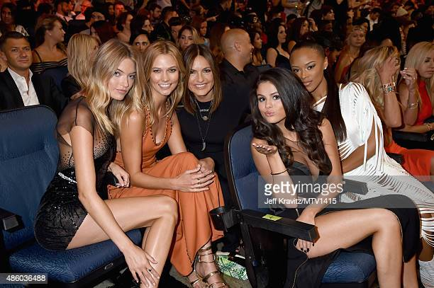 Models Martha Hunt Karlie Kloss actresses Mariska Hargitay Selena Gomez and model Serayah attend the 2015 MTV Video Music Awards at Microsoft Theater...
