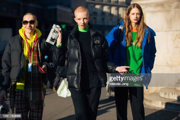 Models Maxim Magnus Anna Francesca Finn Buchanan after the Schiaparelli show during Couture SS19 Fashion Week on January 21 2019 in Paris France Finn...