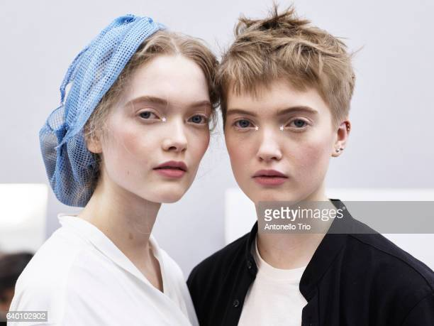 Models May Bell and Ruth Bell poses Backstage prior the Christian Dior Spring Summer 2017 show as part of Paris Fashion Week on January 23 2017 in...