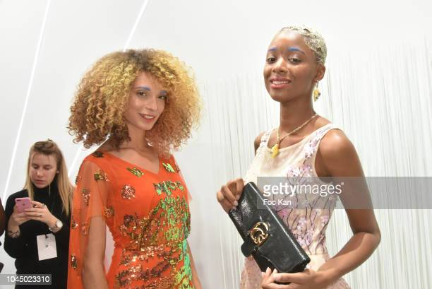 Models Maylys Lheureux and Bourt Tracyt attend the Christophe Guillarme show as part of the Paris Fashion Week Womenswear Spring/Summer 2019 on...