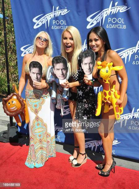 Models Melissa Dawn Taylor Crystal Hefner and Caya Hefner appear at the Sapphire Pool Day Club's Memorial Day weekend celebration on May 25 2013 in...
