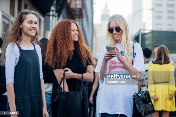 Models Michelle Gutknecht, Sabina Karlsson, Jessie Bloemendaal after the Michael Kors show at Spring Studios during New York Fashion Week...