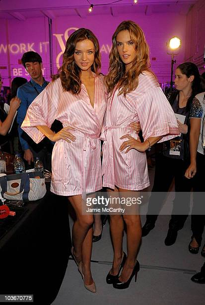 Models Miranda Kerr and Alessandra Ambrosio attend the hair makeup preparations for the 2009 Victoria's Secret fashion showgtgt at The Armory on...