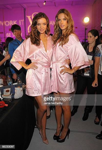 Models Miranda Kerr and Alessandra Ambrosio attend the hair makeup preparations for the 2009 Victoria's Secret fashion show>> at The Armory on...