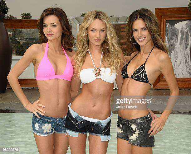models Miranda Kerr Candice Swanepoel and Alessandra Ambrosio celebrate the 15th anniversary of the Victoria's Secret swimsuit catalog at SLS Hotel...