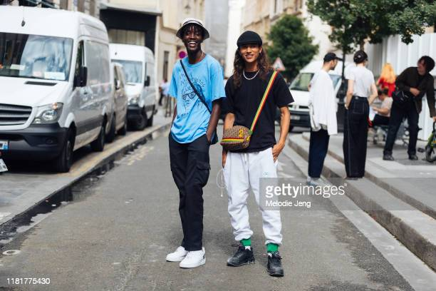 Models Mo M'bengue and Si Oudainia Beaulieu after the Études show during Paris Fashion Week Mens Spring/Summer 2020 on June 19, 2019 in Paris,...