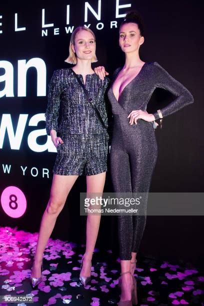Models Models Kim Hnizdo and Betty Taube pose after the Maybelline Show 'Urban Catwalk Faces of New York' at Vollgutlager on January 18 2018 in...