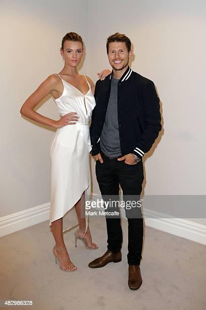 Models Montana Cox and Jason Dundas pose backstage ahead of the David Jones Spring/Summer 2015 Fashion Launch at David Jones Elizabeth Street Store...