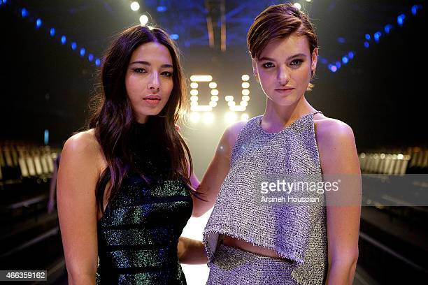 Models Montana Cox and Jessica Gomes at the opening of the 2015 Melbourne Fashion Festival on March 14 2015 in Melbourne Australia